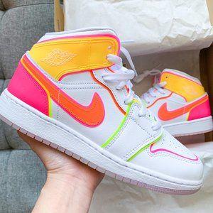 💖💛🧡🤍Air Jordan 1 mid white shoes sneakers